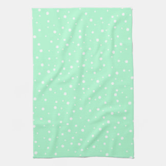 Pastel Mint Green with White Dots Pattern Hand Towel