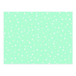 Pastel Mint Green with White Dots Pattern Postcard