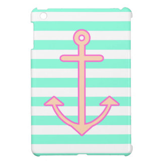 Pastel Mint Nautical Anchor iPad Mini Cases