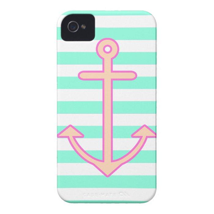 Pastel Mint Nautical Anchor iPhone 4 Case-Mate Case