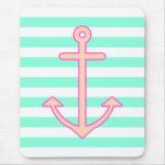 Pastel Mint Nautical Anchor Mouse Pad