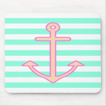 Pastel Mint Nautical Anchor Mouse Pads
