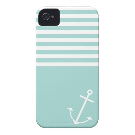 Pastel Mint Nautical iPhone 4 Cover