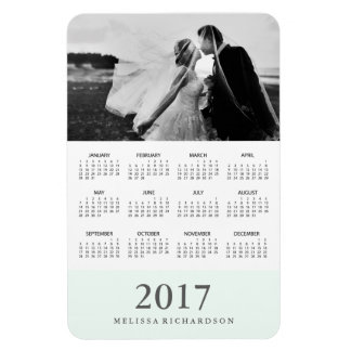 Pastel Mint Stripe | Elegant 2017 Photo Calendar Magnet