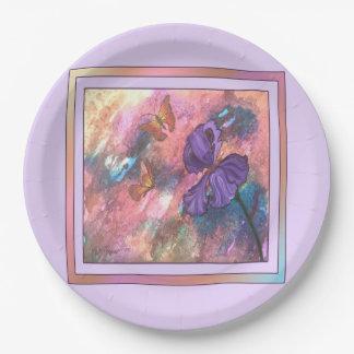 Pastel Monarchs (Lavender Trim) Paper Plates 9 Inch Paper Plate