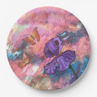 Pastel Monarchs Paper Plate 9 Inch Paper Plate