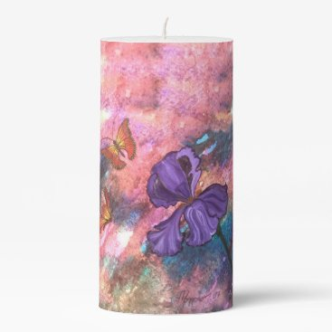 Beach Themed Pastel Monarchs Pillar Candle -Choose from 3 Sizes