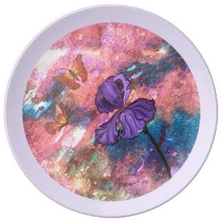 Pastel Monarchs (Round Lavender Trim) Plate