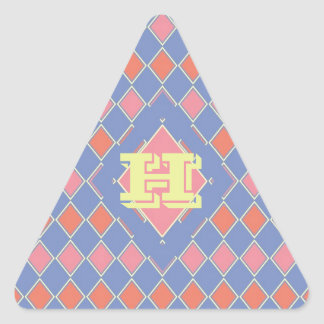 Pastel Monogrammed Harlequin Triangle Sticker