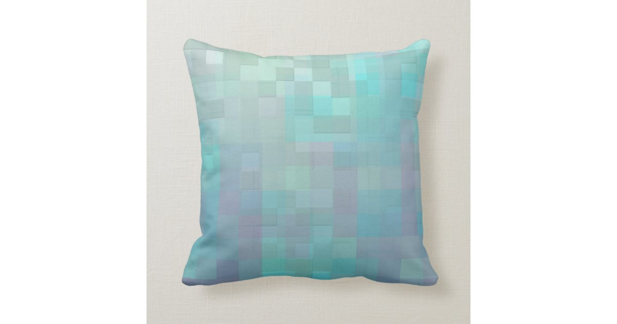Pastel Mosaic Abstract Art Teal Turquoise Throw Pillow