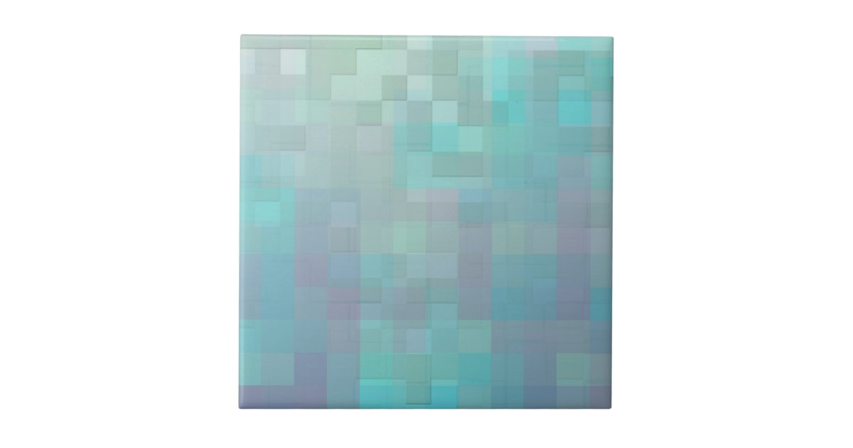Pastel Mosaic Abstract Art Teal Turquoise Tile Zazzle