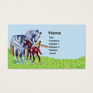 Pastel Mother Horse Baby in Grass Field Fence Business Card