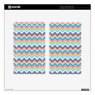 Pastel Multicolor Chevron Pattern Skins For Kindle Fire