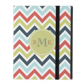 Pastel Multicolor l Monogram Retro Chevron Pattern iPad Cover