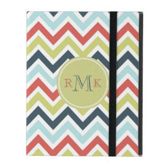 Pastel Multicolor l Monogram Retro Chevron Pattern iPad Covers