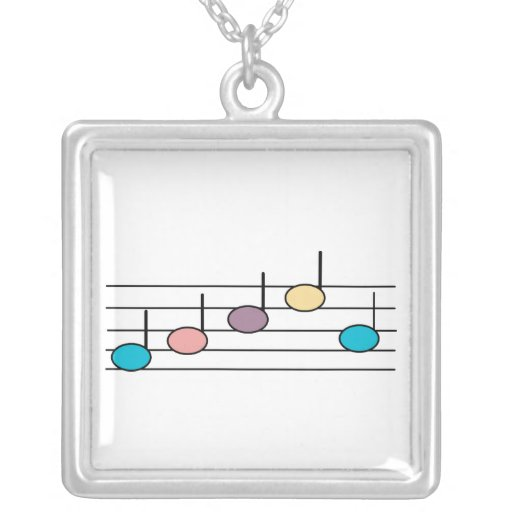 Pastel Music Notes Necklace