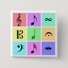 Pastel Music Symbols Button at Zazzle