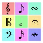 pastel music symbols custom announcement
