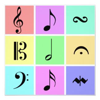 pastel music symbols 5.25x5.25 square paper invitation card