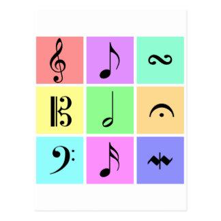 pastel music symbols postcard