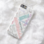 """Pastel Name Polka Dot Barely There iPhone 6 Case<br><div class=""""desc"""">This item features pastel polka dots and a personalized name repeated all over the case! Unique and one of a kind,  your case is sure to get you many compliments.</div>"""