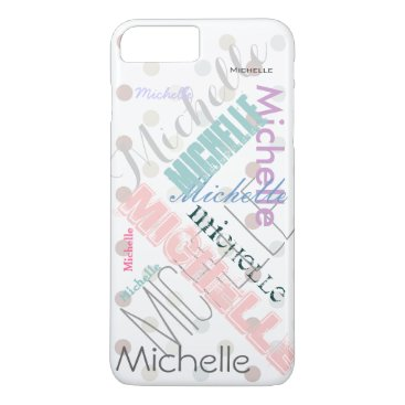 MaggieMart Pastel Name Polka Dot iPhone 8 Plus/7 Plus Case