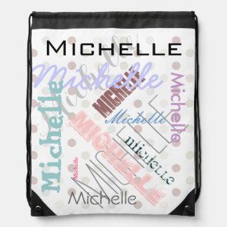 Pastel Name Polka Dot Cinch Bag