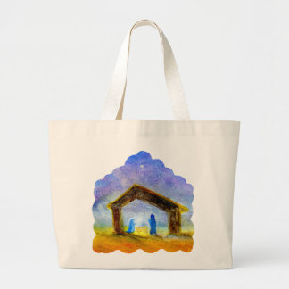 Pastel Nativity Scene, Hand Painted Large Tote Bag