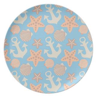 Pastel Nautical Pattern Melamine Plate