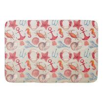 Pastel Nautical Seahorse Anchor Crab Shell lobster Bathroom Mat