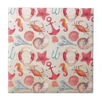 Pastel Nautical Seahorse Anchor Crab Shell lobster Tile