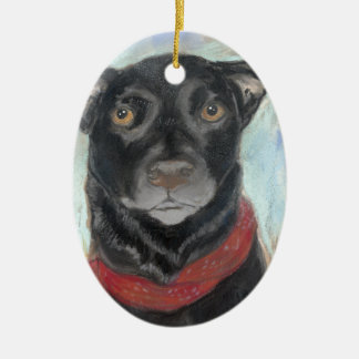 Pastel negro conmovedor del laboratorio adorno navideño ovalado de cerámica