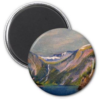 Pastel noruego del aceite del fiordo imán redondo 5 cm