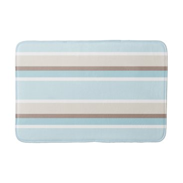 Beach Themed Pastel Ocean Blue Beige Brown White Stripe Pattern Bathroom Mat