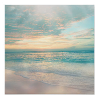 Pastel Ocean Morning Sun Poster