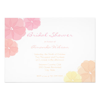 Pastel Ombre Floral Bridal Shower Invitations