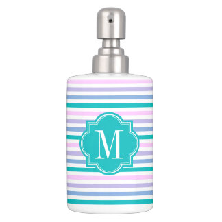 pastel ombre stripes with teal monogram soap dispenser and toothbrush holder