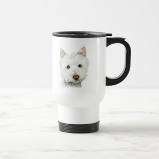 pastel on canvas westie travel mug