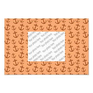 Pastel orange anchor pattern art photo
