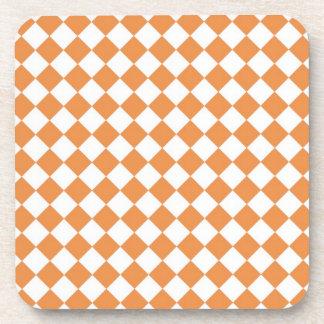Pastel Orange and White Diamond Check pattern Drink Coaster