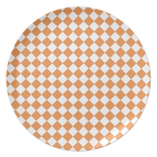 Pastel Orange and White Diamond Check pattern Melamine Plate