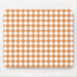 Pastel Orange and White Diamond Check pattern Mouse Pad
