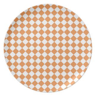 Pastel Orange and White Diamond Check pattern Party Plates