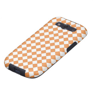Pastel Orange and White Diamond Check pattern Samsung Galaxy S3 Case