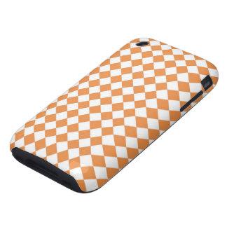 Pastel Orange and White Diamond Check pattern Tough iPhone 3 Case