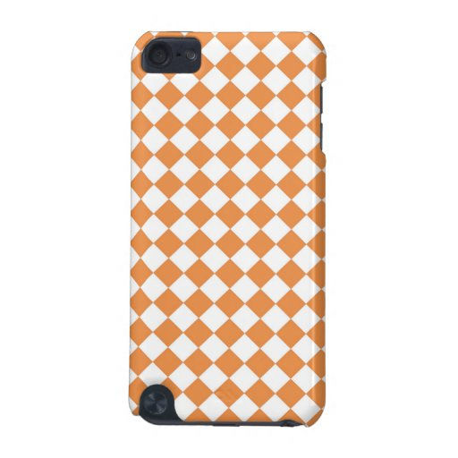 Pastel Orange and White Diamond Check pern iPod Touch (5th Generation) Covers