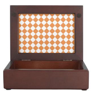 Pastel Orange Diamond Checkerboard pattern Keepsake Box