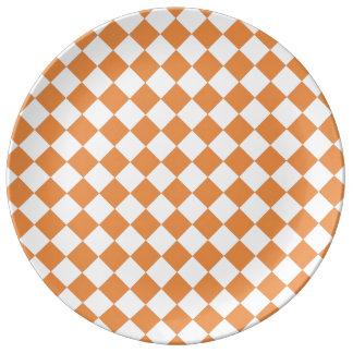 Pastel Orange Diamond Checkerboard pattern Porcelain Plate