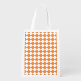 Pastel Orange Diamond Checkerboard pattern Reusable Grocery Bags