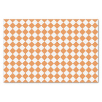 Pastel Orange Diamond Checkerboard pattern Tissue Paper